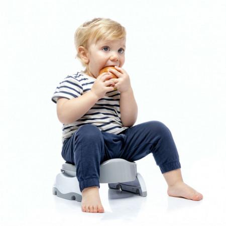Oliță portabilă pliabilă 2 în 1 Potette Plus culoarea gri copil