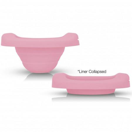 PACHET PROMO: Liner reutilizabil de silicon roz + 3 pachete Șervețele 100% naturale