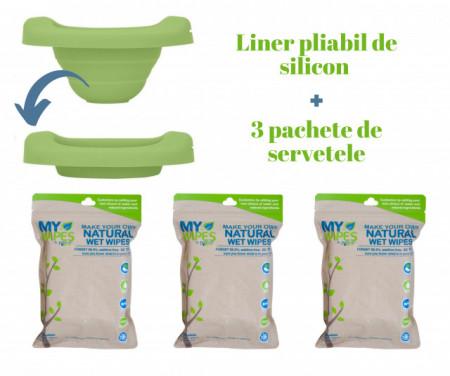 PACHET PROMO: Liner reutilizabil de silicon verde + 3 pachete Șervețele 100% naturale