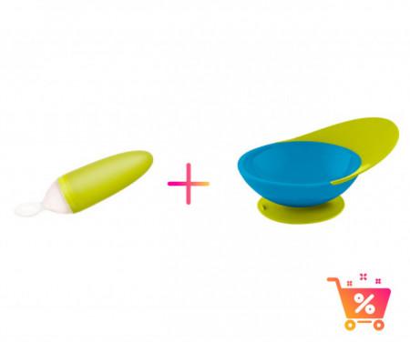PACHET PROMO - Lingurita SQUIRT cu rezervor culoare verde + CATCH BOWL - castron cu sistem antistropire albastru+ verde