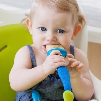 PACHET PROMO - PULP - dispozitiv de hranire din silicon culoare albastru+verde + Lingurita SQUIRT cu rezervor culoare albastra