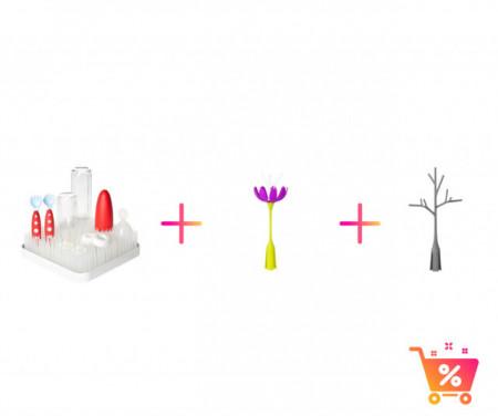 PACHET PROMO: Tava GRASS - suport pentru uscat (alb) + STEM - accesoriu pentru uscare (mov) + TWIG - accesoriu pentru uscare (gri)