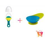 PACHET PROMO - PULP - dispozitiv de hranire din silicon culoare albastru+verde + CATCH BOWL - castron cu sistem antistropire albastru+verde