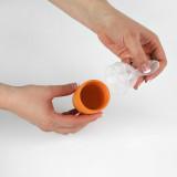 PACHET PROMO - PULP - dispozitiv de hranire din silicon culoare albastru+orange + Lingurita SQUIRT cu rezervor culoare portocaliu