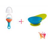 PACHET PROMO - PULP - dispozitiv de hranire din silicon culoare albastru+orange + CATCH BOWL - castron cu sistem antistropire albastru+verde