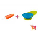 PACHET PROMO - Lingurita SQUIRT cu rezervor culoare portocaliu + CATCH BOWL - castron cu sistem antistropire albastru+ verde