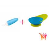 PACHET PROMO - Lingurita SQUIRT cu rezervor culoare albastru + CATCH BOWL - castron cu sistem antistropire albastru+ verde