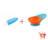 PACHET PROMO - Lingurita SQUIRT cu rezervor culoare albastru + CATCH BOWL - castron cu sistem antistropire albastru+ portocaliu