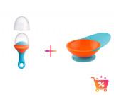 PACHET PROMO - PULP - dispozitiv de hranire din silicon culoare albastru+orange + CATCH BOWL - castron cu sistem antistropire albastru+portocaliu