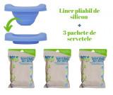PACHET PROMO: Liner reutilizabil de silicon albastru + 3 pachete Șervețele 100% naturale