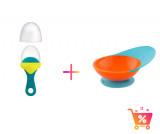 PACHET PROMO - PULP - dispozitiv de hranire din silicon culoare albastru+verde + CATCH BOWL - castron cu sistem antistropire albastru+portocaliu