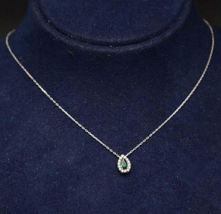 Colier din argint Lacrima cu piatra Verde Arg361C