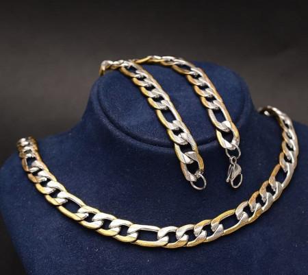 Set Lant+Bratara Inox Cuban Auriu Argintiu Cod S226B