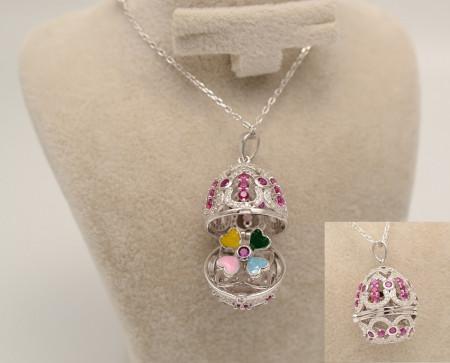Colier Cu Lantisor Din Argint -- FABERGE DIAMOND PINK--ARG277