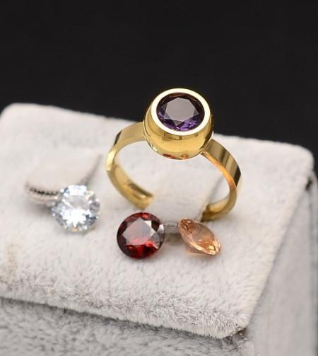 Inel inox auriu de logodna cu 4 Pietricele Interschimbabile Cod IF648F