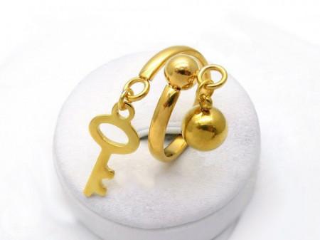 Inel inox auriu -Key- Cod IF648Z