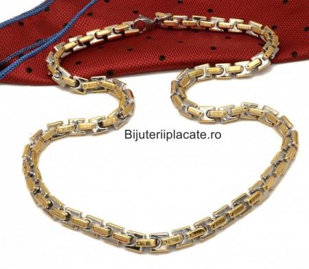 Lant Inox Solid Byzantine Ton Auriu si Argintiu L122A