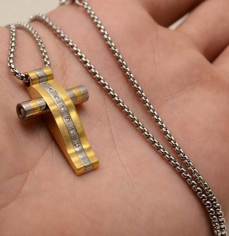Lant Si Cruciulita Inox Ton Auriu si Argintiu cod LC89