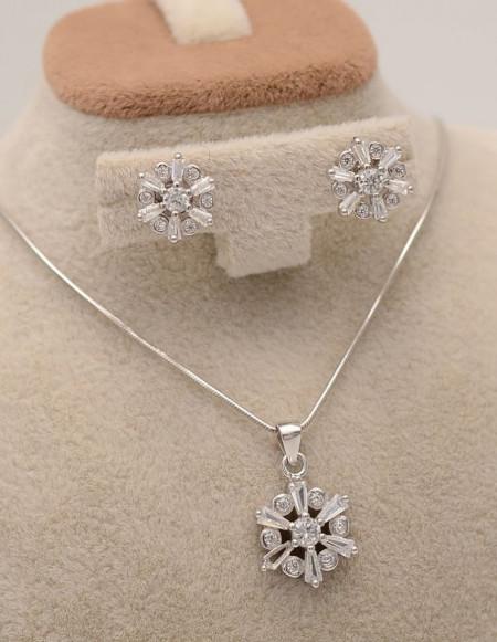 Set argint cu fulgi de zapada si cristale cod SET305