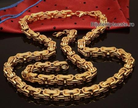Set Lant Si Bratara Inox Auriu Bizantin Cod S31
