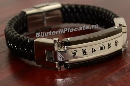Bratara Solida Piele -CHINESE LETTERS- Inox B956