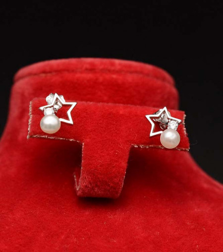 Cercei argint stars Pearls ARG339A