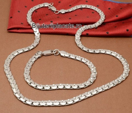 Set lant+Bratara inox Argintiu cod S201