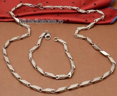 Set Lant+Bratara inox Model Versace Argintiu 1208