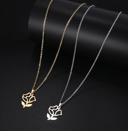 Set Lant+ pandantiv Flowers Silver ---FINUT --- Cod LC232D