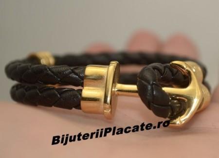 Bratara Piele si Inox -NAUTIC SKULL GOLD- cod B939