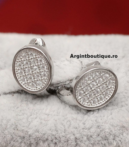 Cercei din argint Simple Whisper OVALI cod ARG125