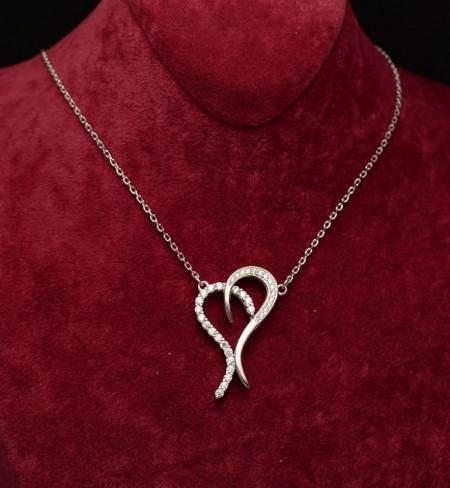 Colier Argint Cu Inima si Zirconii ARG356