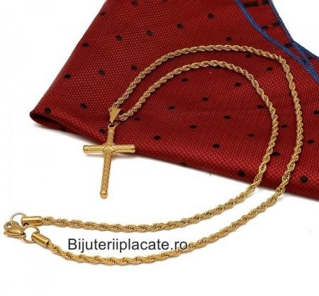 Lant inox si Cruciulita Auriu LC9E
