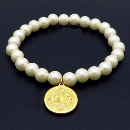Bratara cu perle albe -Maica Domnului- BF851E