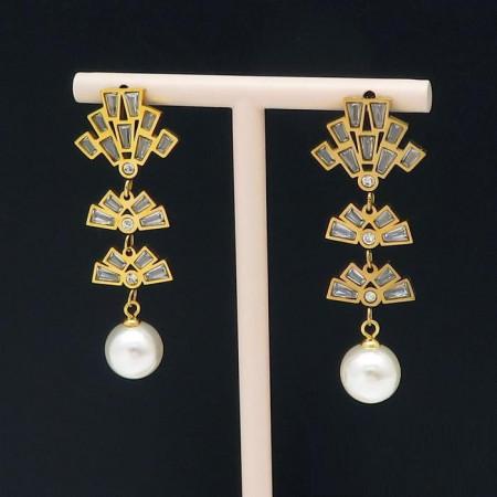 Cercei lungi eleganti cu perla Cod 235N