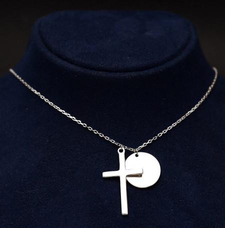 Colier din argint cu cruce si placuta Arg343