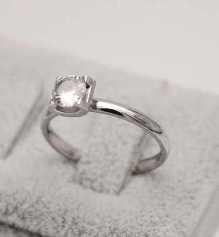 Inel inox agintiu de logodna cu ---ZIRCONII--- albe Cod 1648A