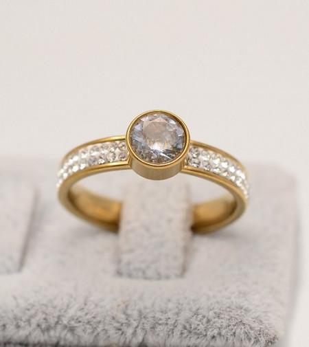 Inel inox auriu de logodna cu ---ZIRCONII---Cod IF648U