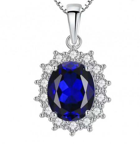 Pandantiv cu Lantisor Argint --Blue Sapphire-- ARG18A