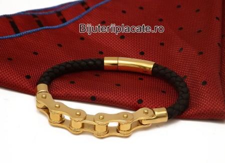 Bratara  Solida Piele -LANT BICICLETA- Inox B898D