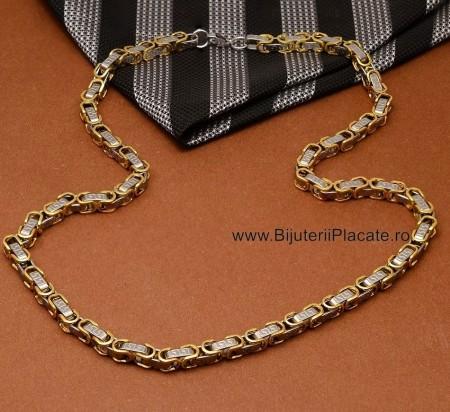 Lant Byzantine din Inox Ton Auriu/Argintu L179