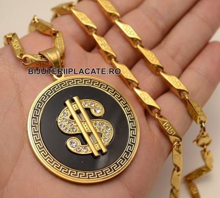 Lant inox si Medalion DOLLAR Versace LC15M