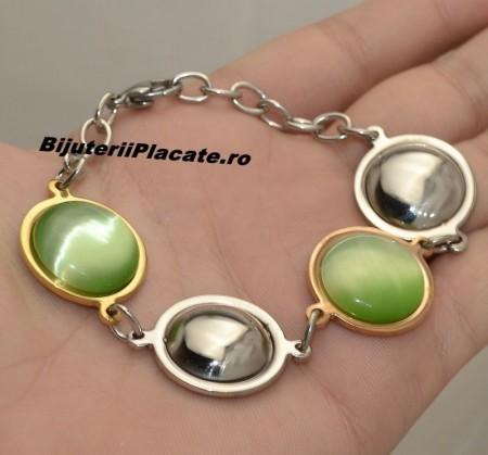 Bratara Auriu si Argintiu cu piatra verde BF924A