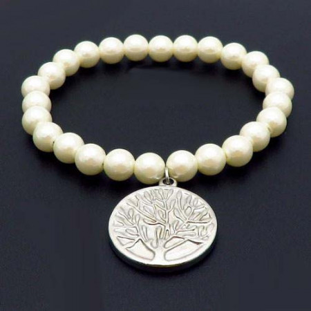 Bratara cu perle albe -Copacul Vietii-argintiu BF851H