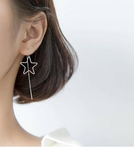 Cercei Din Argint - Minimalist Long Chain Big Stars- cod ARG13A