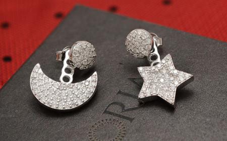 Cercei din argint -MOON AND STAR- cod ARG42