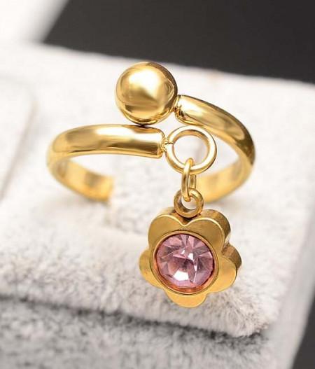 Inel inox auriu -Flower Pink- Cod IF648K