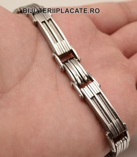 Bratara  din otel inox cu cablu rasucit- Solida-- Cod B973