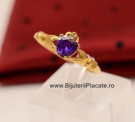 Inel inox auriu de logodna cu ---ZIRCONII--- mov IF648