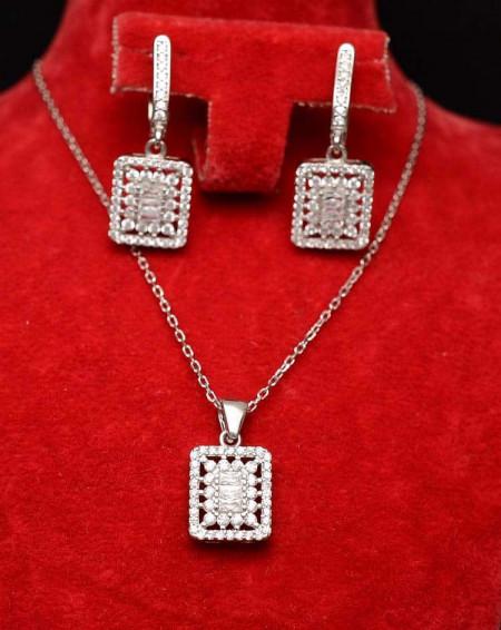 Set Argint 925 dreptunghiuri cu zirconii, cod SET360C